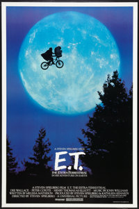 """E.T. The Extra-Terrestrial (Universal, 1982). One Sheet (27"""" X 40.5"""") Bicycle Style. Science Fiction"""