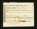 Colonial Notes:Massachusetts, Massachusetts Treasury Tax Collector's Certificate. January 1783.About New....