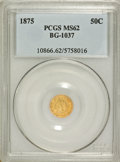 California Fractional Gold: , 1875 50C Indian Round 50 Cents, BG-1037, R.4, MS62 PCGS. PCGSPopulation (17/25). NGC Census: (2/5). (#10866)...
