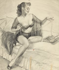Pin-up and Glamour Art, HARRY EKMAN (American, 1923-1999). Pin-Up Sketch. Pencil onpaper. 18.5 x 15.5 in.. Signed lower right. ...