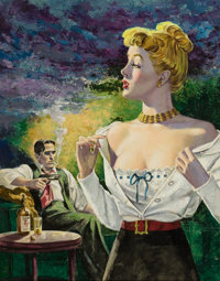 AMERICAN ARTIST (20th Century) Showing It Off, probable paperback cover Acrylic and tempera on board