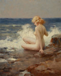 Pin-up and Glamour Art, JOSEPH TOMANEK (American, 1889-1974). Nude on the Shore. Oilon board. 19.5 x 15.5 in.. Signed lower left. ...