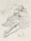 Pin-up and Glamour Art, VAUGHAN ALDEN BASS (American, 20th century). Little Gal Blue,pin-up, circa 1956. Pencil on paper. 12.75 x 9.5 in.. Not ...(Total: 2 Items)
