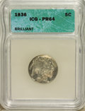 Proof Buffalo Nickels, 1936 5C Type Two--Brilliant Finish PR64 ICG....