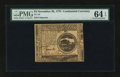 Colonial Notes:Continental Congress Issues, Continental Currency November 29, 1775 $4 PMG Choice Uncirculated64 EPQ....