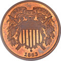Patterns, 1863 2C Two Cents, Judd-312, Pollock-377, R.4, PR65 Red and BrownPCGS. CAC....