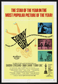 "Funny Girl (Columbia, 1968). One Sheet (27"" X 39.5""). Musical. Starring Barbra Streisand, Omar Sharif, Kay Med..."