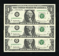 Error Notes:Ink Smears, Fr. 1924-B $1 1999 Federal Reserve Notes. Three Examples VeryChoice Crisp Uncirculated.. ... (Total: 3 notes)
