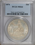 Trade Dollars: , 1876 T$1 MS64 PCGS. PCGS Population (108/25). NGC Census: (104/16).Mintage: 455,000. Numismedia Wsl. Price for NGC/PCGS co...