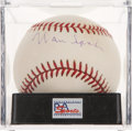 Autographs:Baseballs, Warren Spahn Single Signed Baseball PSA NM-MT+ 8.5....