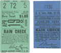 Baseball Collectibles:Tickets, Babe Ruth First Home Run of the 1928 Season and 1934 Cardinals vs.Giants Tickets Lot of 2.... (Total: 2 items)