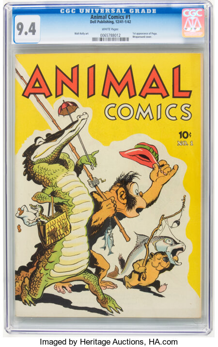 Animal Comics #1 (Dell, 1942) CGC NM 9.4 White pages....