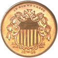 Patterns, 1866 5C Shield Five Cents, Judd-495, Pollock-582, High R.7, PR65Brown PCGS. CAC....