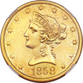 Liberty Eagles, 1858 $10 --Improperly Cleaned--NGC. AU Details....