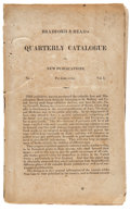 "Books:Pamphlets & Tracts, Bradford & Read's Quarterly Catalogue of New Publications. Vol. I, No. 1, June 1812. 5"" x 8.25"". 24pp. This catalogue in..."