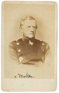"Photography:CDVs, Helmuth von Moltke (the Elder) Carte de Visite, 20.5"" x 4"". The Prussian military strategist sits in uniform wit..."