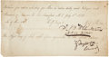 "Autographs:U.S. Presidents, Zachary Taylor Whiskey Request Signed ""Z. Taylor - Comdr.""One page, 7.5"" x 4"", July 1, 1833, ""Fort Crawford, MT..."