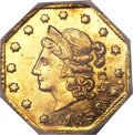 California Fractional Gold, 1853 50C Peacock Reverse 50 Cents, BG-302, Low R.4, MS64 ProoflikeNGC....