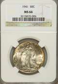 Walking Liberty Half Dollars: , 1941 50C MS66 NGC. NGC Census: (2072/487). PCGS Population(2498/441). Mintage: 24,207,412. Numismedia Wsl. Price for probl...