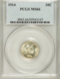 Barber Dimes: , 1914 10C MS66 PCGS. PCGS Population (51/5). NGC Census: (32/1).Mintage: 17,360,656. Numismedia Wsl. Price for problem free...