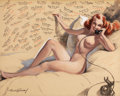 Pin-up and Glamour Art, BRADSHAW CRANDELL (American, 1896-1966). Dutch Treat ClubYearbook Illustration, 1952. Mixed media on board. 23.5 x29.5...