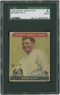 Baseball Cards:Singles (1930-1939), 1933 Sports Kings Gum Babe Ruth #2 SGC Authentic....