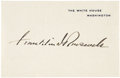 "Autographs:U.S. Presidents, Franklin Roosevelt Autograph ""Franklin D. Roosevelt"" on a""White House/ Washington"" card, 4.25"" x 3"", n.d. Thisbold..."
