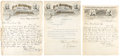 """Autographs:Celebrities, Barnum & Bailey: Three Letters, all dated 1891 and near 9"""" x 11.5"""" from New York. Two of the letters are on """"P. T. Barnum'... (Total: 3 Items)"""