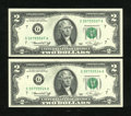 Error Notes:Ink Smears, Fr. 1935-G $2 1976 Federal Reserve Note. Very Choice CrispUncirculated.. ... (Total: 2 notes)