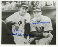"Autographs:Photos, Joe DiMaggio and Ted Williams Signed Photo. The 8x10"" black andwhite photo catching Joe DiMaggio and Ted Williams on the s..."