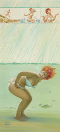 Pin-up and Glamour Art, DUANE BRYERS (American, b. 1911). Hilda, Raining at theBeach. Gouache on board. 25.75 x 12 in.. Signed lower left. ...