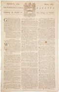 "Miscellaneous:Newspaper, [Benjamin Franklin] The Pennsylvania Gazette,September 6, 1764, Number 1863. 6pp. 10"" x 15.5"". Phil..."