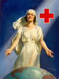 Mainstream Illustration, HADDON HUBBARD SUNDBLOM (American, 1899-1976). White CrossNurse. Oil on canvas laid on board with emblem. 33 x 24.75in...