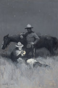 Mainstream Illustration, DOUGLAS DUER (American, 1887-1964). Canadian Mounties, 1915.Oil on canvas. 29.5 x 19.5 in.. Signed lower left. ...