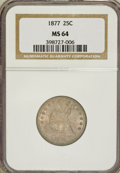 Seated Quarters: , 1877 25C MS64 NGC. NGC Census: (76/122). PCGS Population (62/144).Mintage: 10,911,710. Numismedia Wsl. Price for problem f...