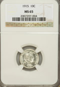Barber Dimes: , 1915 10C MS65 NGC. NGC Census: (41/9). PCGS Population (48/9).Mintage: 5,620,450. Numismedia Wsl. Price for problem free N...