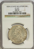 Bust Half Dollars: , 1834 50C Large Date, Small Letters AU53 NGC. O-107. NGC Census:(0/0). PCGS Population (26/199). (#6165)...