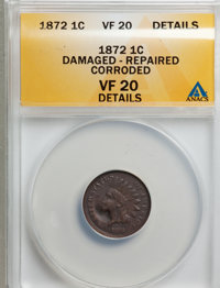 1872 1C --Damaged, Repaired, Corroded--VF20 ANACS. VF20 Details. NGC Census: (0/0). PCGS Population (23/475). Mintage: 4...