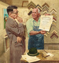 Mainstream Illustration, ALEXANDER ROSS (American, 1908-1990). Framing the Doctor'sDiploma. Oil on board. 20 x 18.5 in.. Signed lower right. ...