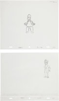 animation art:Production Drawing, The Simpsons Homer Simpson and Julio Production DrawingOriginal Art Group (Fox, 2003).... (Total: 3 Items)