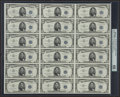 Small Size:Silver Certificates, Courtesy Autographed Fr. 1655 $5 1953 Silver Certificates. Uncut Sheet of 18. PMG Gem Uncirculated 66 EPQ.. ...