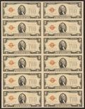 Small Size:Legal Tender Notes, Fr. 1508 $2 1928G Legal Tender Notes. Uncut Sheet of Twelve. Uncirculated.. ...