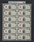 Small Size:Legal Tender Notes, Fr. 1508 $2 1928G Legal Tender Notes. Uncut Sheet of Twelve. PMG Choice Uncirculated 64.. ...