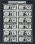 Small Size:Silver Certificates, Fr. 1607 $1 1935 Silver Certificates. Uncut Sheet of Twelve. PMG Choice Uncirculated 64 EPQ.. ...