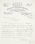 Golf Collectibles:Autographs, 1923 John Henry Taylor Handwritten Signed Letter....
