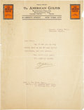 Golf Collectibles:Autographs, 1911 Walter Travis Signed Letter....