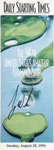 Golf Collectibles:Autographs, 1994 Tiger Woods Signed US Amateur Championship Pairing Sheet....