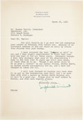 Golf Collectibles:Autographs, 1961 Francis Ouimet Signed Letter....