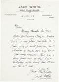 Golf Collectibles:Autographs, 1919 Jack White Handwritten Signed Letter....