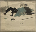 Mainstream Illustration, HARRY BECKHOFF (American, 1901-1979). Mishap in the Snow.Watercolor. 11.75 x 13 in.. signed lower left. ...